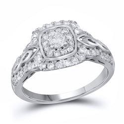 14kt White Gold Round Diamond Solitaire Bridal Wedding Engagement Ring 3/4 Cttw