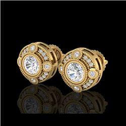 1.5 ctw VS/SI Diamond Solitaire Art Deco Stud Earrings 18K Yellow Gold