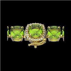 40 ctw Peridot & Micro Pave Diamond Bracelet 14K Yellow Gold