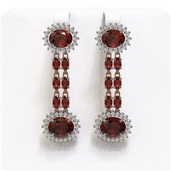 11.7 ctw Garnet & Diamond Earrings 14K Rose Gold
