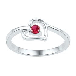 Sterling Silver Round Lab-Created Ruby Solitaire Heart Ring 1/5 Cttw