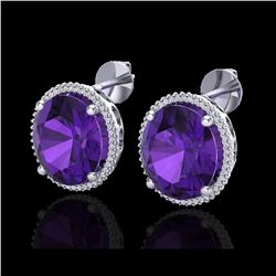 20 ctw Amethyst & Micro VS/SI Diamond Pave Earrings 18K White Gold