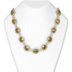 129.15 ctw Canary Citrine & Diamond Necklace 18K Yellow Gold