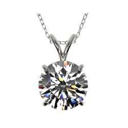 2 ctw Certified Quality Diamond Solitaire Necklace 10K White Gold