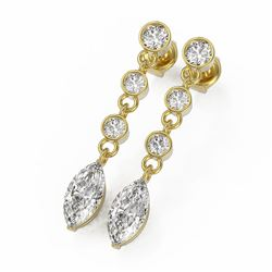 3 ctw Marquise Cut Diamond Earrings 18K Yellow Gold