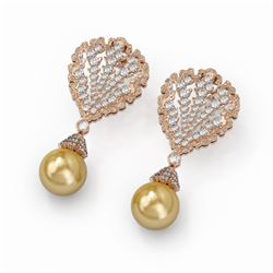 4.5 ctw Diamond and Pearl Earrings 18K Rose Gold