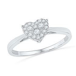 10kt White Gold Round Diamond Simple Heart Cluster Ring 1/6 Cttw