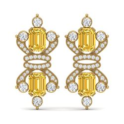 25.35 ctw Canary Citrine & VS Diamond Earrings 18K Yellow Gold