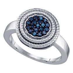 Sterling Silver Round Blue Color Enhanced Diamond Concentric Milgrain Cluster Ring 1/4 Cttw