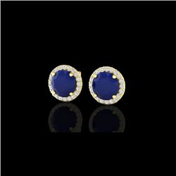 4 ctw Sapphire & Halo VS/SI Diamond Micro Pave Earrings 18K Yellow Gold