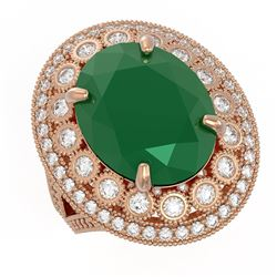 13.85 ctw Certified Emerald & Diamond Victorian Ring 14K Rose Gold