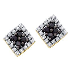 14kt Yellow Gold Round Black Color Enhanced Diamond Square Cluster Earrings 1/4 Cttw