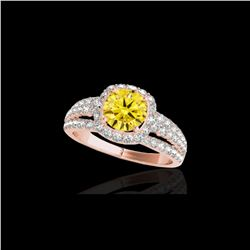 2.25 ctw Certified SI/I Fancy Intense Yellow Diamond Ring 10K Rose Gold
