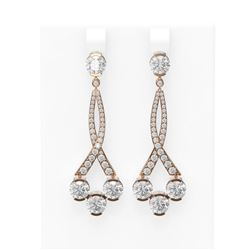 7.53 ctw Diamond Earrings 18K Rose Gold