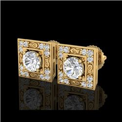 1.63 ctw VS/SI Diamond Solitaire Art Deco Stud Earrings 18K Yellow Gold