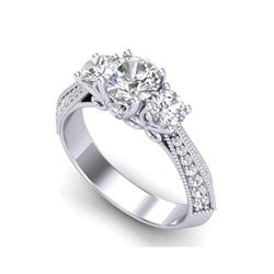 1.81 ctw VS/SI Diamond Art Deco 3 Stone Ring 18K White Gold