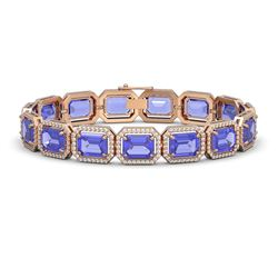 36.37 ctw Tanzanite & Diamond Micro Pave Halo Bracelet 10K Rose Gold