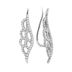 10kt White Gold Round Diamond Winged Climber Earrings 1/3 Cttw
