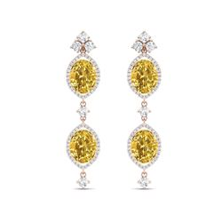 12.21 ctw Canary Citrine & VS Diamond Earrings 18K Rose Gold