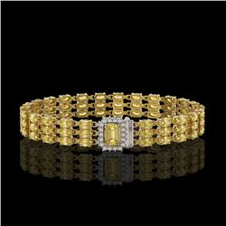 20.93 ctw Citrine & Diamond Bracelet 14K Yellow Gold