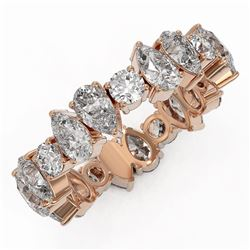 4.55 ctw Pear Cut Diamond Eternity Ring 18K Rose Gold
