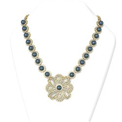 15 ctw Diamond and Pearl Necklace 18K Yellow Gold