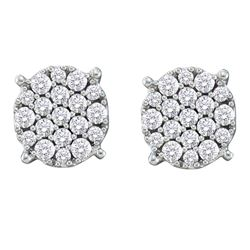 14kt White Gold Round Pave-set Diamond Flower Cluster Earrings 1/2 Cttw