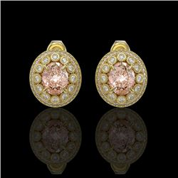 7.44 ctw Morganite & Diamond Victorian Earrings 14K Yellow Gold