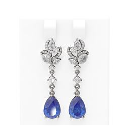 8.22 ctw Tanzanite & Diamond Earrings 18K White Gold