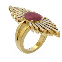 5.07 ctw Ruby & Diamond Ring 18K Yellow Gold