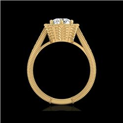 1.33 ctw VS/SI Diamond Solitaire Art Deco Ring 18K Yellow Gold