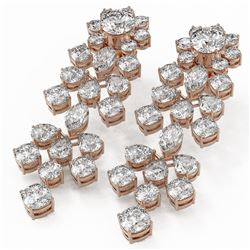 14.92 ctw Mixed Cut Diamond Designer Earrings 18K Rose Gold