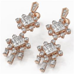 5.18 ctw Princess Cut Diamond Designer Earrings 18K Rose Gold