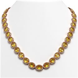 58.27 ctw Fancy Citrine & Diamond Micro Pave Halo Necklace 10K Rose Gold