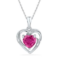 10kt White Gold Round Lab-Created Pink Sapphire Heart Pendant 1.00 Cttw