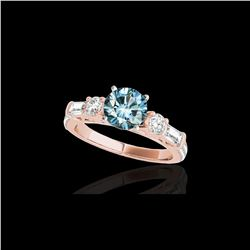 2 ctw SI Certified Fancy Blue Diamond Pave Solitaire Ring 10K Rose Gold