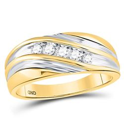 10kt Two-tone Gold Mens Round Diamond Wedding Anniversary Band Ring 1/4 Cttw