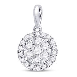 14kt White Gold Round Diamond Halo Flower Cluster Pendant 3/4 Cttw