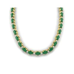 55.5 ctw Emerald & VS/SI Certified Diamond Eternity Necklace 10K Yellow Gold