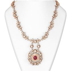 24.87 ctw Ruby & Diamond Necklace 18K Rose Gold