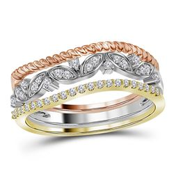 10kt Tri-Tone Gold Round Diamond Stackable Rope Floral Band Ring 3-Piece Set 1/5 Cttw