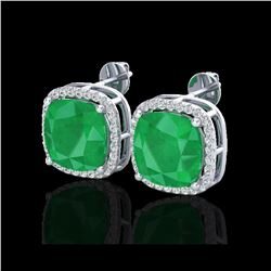 12 ctw Emerald & Micro Pave Halo VS/SI Diamond Earrings 18K White Gold