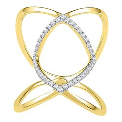 10kt Yellow Gold Round Diamond Open Strand Knuckle Fashion Ring 1/6 Cttw