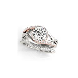 2 ctw Certified VS/SI Diamond Bypass Solitaire 2pc Set Ring 14K White & Rose Gold