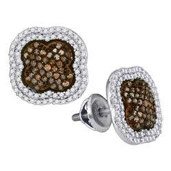 10kt White Gold Round Brown Diamond Quatrefoil Cluster Earrings 3/4 Cttw