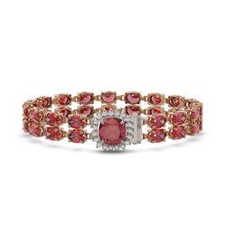 17.35 ctw Tourmaline & Diamond Bracelet 14K Rose Gold