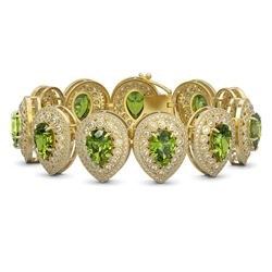 57.24 ctw Tourmaline & Diamond Victorian Bracelet 14K Yellow Gold