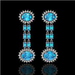 9.85 ctw Swiss Topaz & Diamond Earrings 14K White Gold