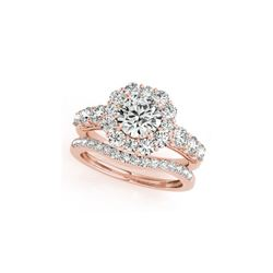 3.16 ctw Certified VS/SI Diamond 2pc Wedding Set Halo 14K Rose Gold
