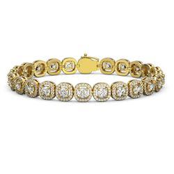 10.39 ctw Cushion Cut Diamond Micro Pave Bracelet 18K Yellow Gold